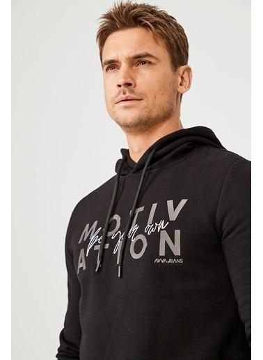 Avva Erkek  Kapüşonlu Yaka Nakışlı Sweatshirt A02Y1084 Siyah